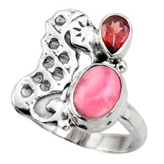 5.20cts natural pink rhodochrosite inca rose silver seahorse ring size 8 d46066
