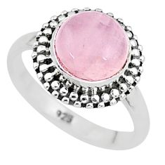 3.10cts natural pink rose quartz 925 silver solitaire ring jewelry size 5 t6010