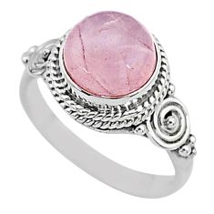 3.27cts natural pink rose quartz 925 silver solitaire ring jewelry size 5 t6020