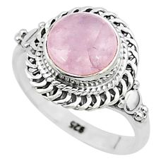 3.29cts natural pink rose quartz 925 silver solitaire ring jewelry size 6 t6006