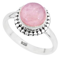 3.31cts natural pink rose quartz 925 silver solitaire ring jewelry size 6 t6013