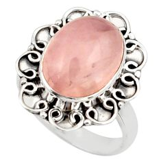 6.04cts natural pink rose quartz 925 silver solitaire ring jewelry size 7 d47468