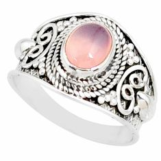 2.17cts natural pink rose quartz silver solitaire handmade ring size 7 r81528