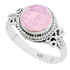 3.13cts natural pink rose quartz 925 silver solitaire ring jewelry size 7 t6001