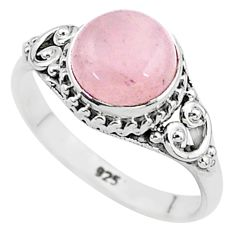2.87cts natural pink rose quartz 925 silver solitaire ring jewelry size 7 t6007
