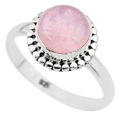 3.12cts natural pink rose quartz 925 silver solitaire ring jewelry size 7 t6008