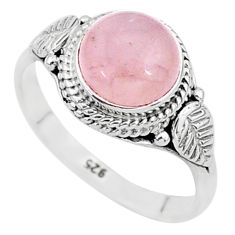 3.44cts natural pink rose quartz 925 silver solitaire ring jewelry size 7 t6011