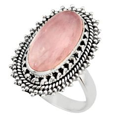 7.03cts natural pink rose quartz 925 silver solitaire ring jewelry size 8 d47472