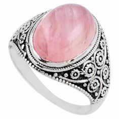 6.02cts natural pink rose quartz 925 silver solitaire ring jewelry size 8 r54624