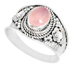 2.19cts natural pink rose quartz silver solitaire handmade ring size 8 r81521