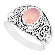 2.05cts natural pink rose quartz silver solitaire handmade ring size 8 r81525