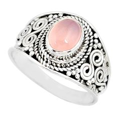 2.17cts natural pink rose quartz silver solitaire handmade ring size 8 r81530