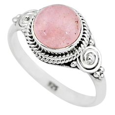 3.11cts natural pink rose quartz 925 silver solitaire ring jewelry size 8 t6009