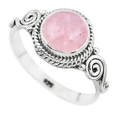 3.11cts natural pink rose quartz 925 silver solitaire ring jewelry size 8 t6012