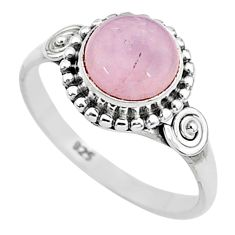 3.26cts natural pink rose quartz 925 silver solitaire ring jewelry size 8 t6018