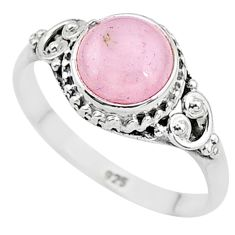 3.13cts natural pink rose quartz 925 silver solitaire ring jewelry size 9 t6002