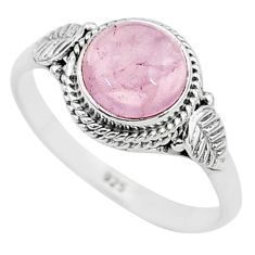 3.26cts natural pink rose quartz 925 silver solitaire ring jewelry size 9 t6005