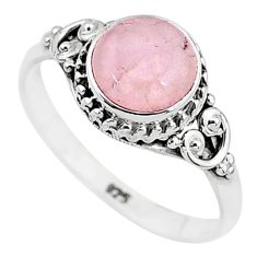 3.25cts natural pink rose quartz 925 silver solitaire ring jewelry size 9 t6015