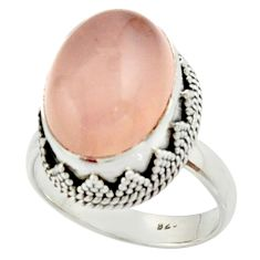 10.44cts natural pink rose quartz 925 silver solitaire ring size 8.5 r22327