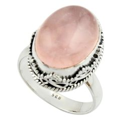 11.50cts natural pink rose quartz 925 silver solitaire ring size 8.5 r22328