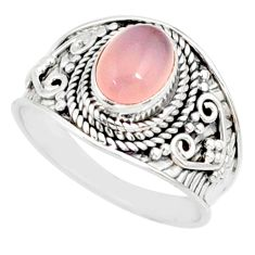 2.19cts natural pink rose quartz 925 silver solitaire ring size 7.5 r81531