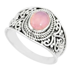 2.17cts natural pink rose quartz 925 silver solitaire ring size 7.5 r81538