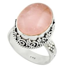11.54cts natural pink rose quartz 925 silver solitaire ring size 8 r22324