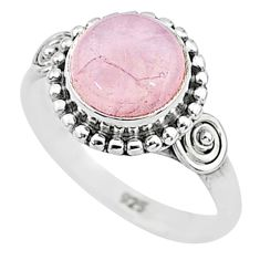 3.08cts natural pink rose quartz 925 silver solitaire ring size 5.5 t6003