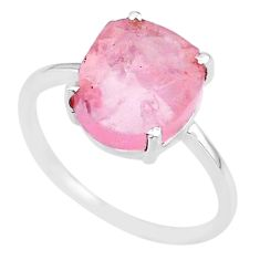 4.74cts natural pink rose quartz raw 925 10x12mm silver ring size 8 r89983