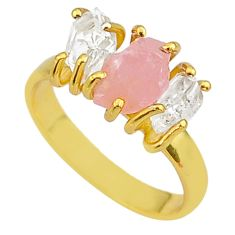 7.96cts natural pink rose quartz raw 14k gold handmade ring size 8 t14046