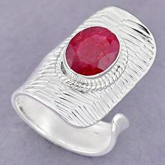 4.17cts natural pink ruby 925 sterling silver adjustable ring size 6.5 r90601