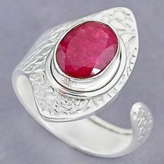 4.05cts natural pink ruby 925 sterling silver adjustable ring size 8 r90528