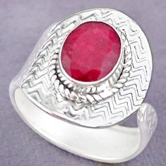 4.13cts natural pink ruby 925 sterling silver adjustable ring size 9 r90674