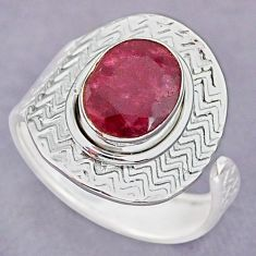 4.11cts natural pink ruby 925 sterling silver adjustable ring size 9 r90676