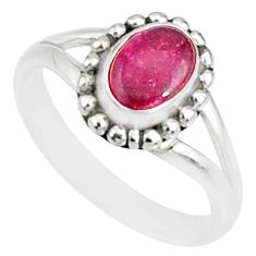 1.54cts natural pink ruby 925 sterling silver solitaire ring size 5 r82182