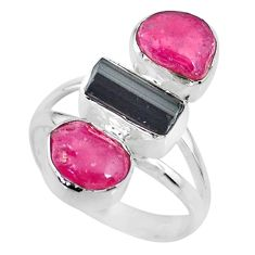 12.96cts natural pink ruby black tourmaline raw 925 silver ring size 8 r73814