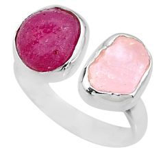 13.27cts natural pink ruby raw 925 silver adjustable ring size 8.5 r73860