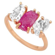 7.66cts natural pink ruby raw 14k rose gold handmade ring size 7 t14017
