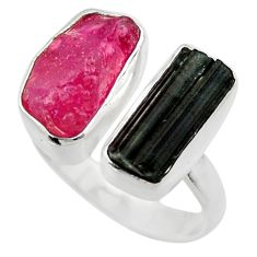 10.17cts natural pink ruby rough 925 silver adjustable ring size 7.5 r29611