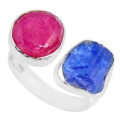 13.27cts natural pink ruby raw 925 silver adjustable ring size 8 r73946