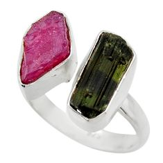 11.66cts natural pink ruby rough 925 silver adjustable ring size 9 r29615