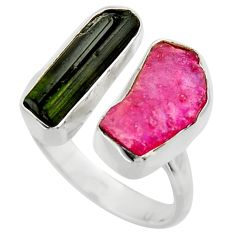 13.27cts natural pink ruby rough 925 silver adjustable ring size 9 r29618