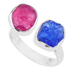 12.06cts natural pink ruby raw 925 silver adjustable ring size 9 r73943