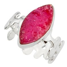 7.44cts natural pink ruby rough 925 silver solitaire ring size 7.5 d46509