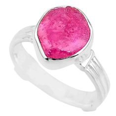 6.03cts natural pink ruby rough 925 silver solitaire ring jewelry size 7 r72067