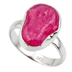 6.54cts natural pink ruby rough 925 silver solitaire ring jewelry size 8 r48980