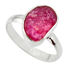 5.96cts natural pink ruby rough 925 silver solitaire ring jewelry size 9 r48982