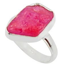 6.72cts natural pink ruby rough 925 silver solitaire ring size 7.5 r48983