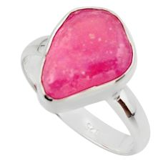 6.26cts natural pink ruby rough 925 silver solitaire ring size 8.5 r48988