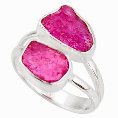 9.61cts natural pink ruby rough 925 sterling silver ring jewelry size 6 r38313